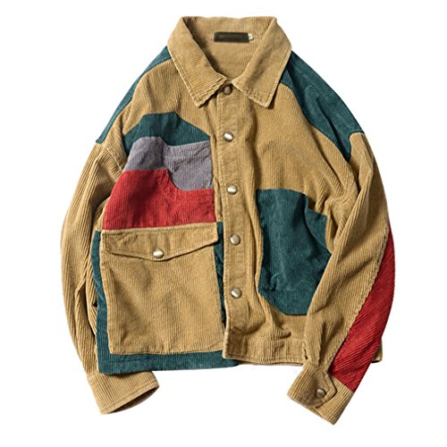 Patchwork Corduroy Jackets Mens Hip Hop Casual Long Sleeve Pockets Outwear Coats Male Fashion Streetwear Pic L ()