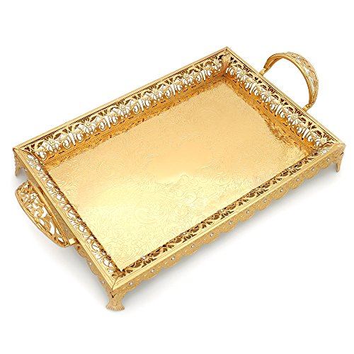 (Decorative Serving Trays with Handles and Legs for Parties, XINFANGXIU Gold Metal Serve Tray Centerpiece Decorated with Lace Rim and Crystals Rectangular Large Unique for Wedding Coffee Table Restaura)