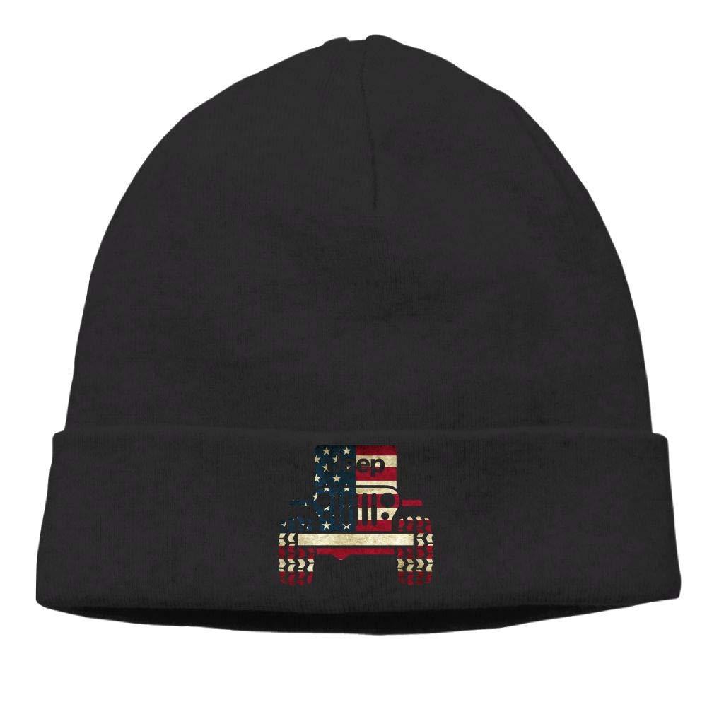 Jeep American Flag Skull Caps Beanie Caps Mens Black
