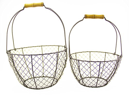Antique Style Wire Mesh Baskets Farm Country Decor, Set of 2 with Handle