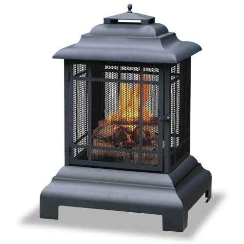 Large Black Firehouse - Uniflame 28 Inch Black Belmont Style Pagoda Fire Pit Firehouse
