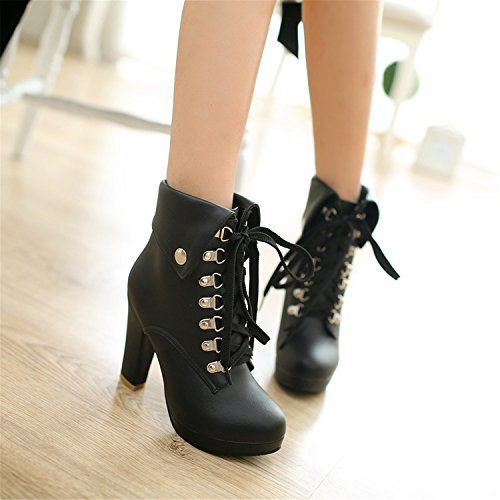 Heel Sexy Odetina Buckle Women's Punk Lace High Calf Chunky Zipper Strap Stud up Mid Black Rivet with Boots amp;1016 Platform g4z4wqx1