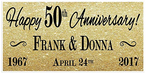(50th Wedding Anniversary Gold Banner Party Decoration)