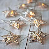 Mini Skater 20 LED Metal Stars Fairy String Decoration Lights Battery Operated Christmas Halloween Festival Party Wedding (Silver Metal Star)