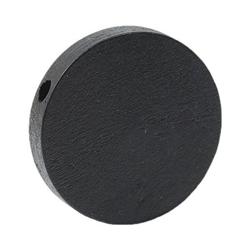 SiAura - Perline di Legno da 25 mm con Foro da 2,3 mm, 50 Pezzi, Colore: Nero SiAura Material