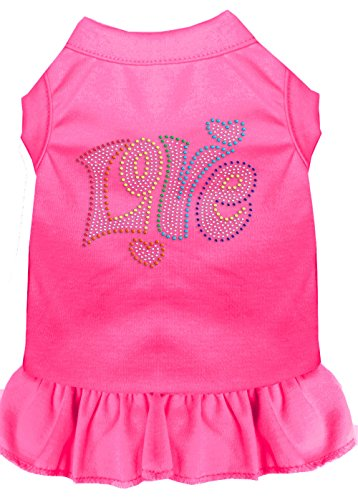 Mirage Pet Products 57-61 SMBPK Pink Technicolor Love Rhinestone Pet Dress Bright, Small