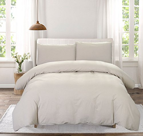 SUSYBAO 3 Pieces Duvet Cover Set 100% Natural Washed Cotton Beige Queen Size 1 Duvet Cover with 2 Pillow Cases Luxury Quality Durable Ultra Soft Breathable Hypoallergenic Fade and Stain Resistant