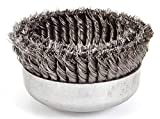Double Row Cup Wire Brush, Threaded Arbor Fit for Weiler 97443