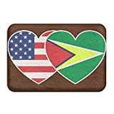 QQQWZH-A Guyana USA Flag Twin Heart Kitchen Rug Standing Mat
