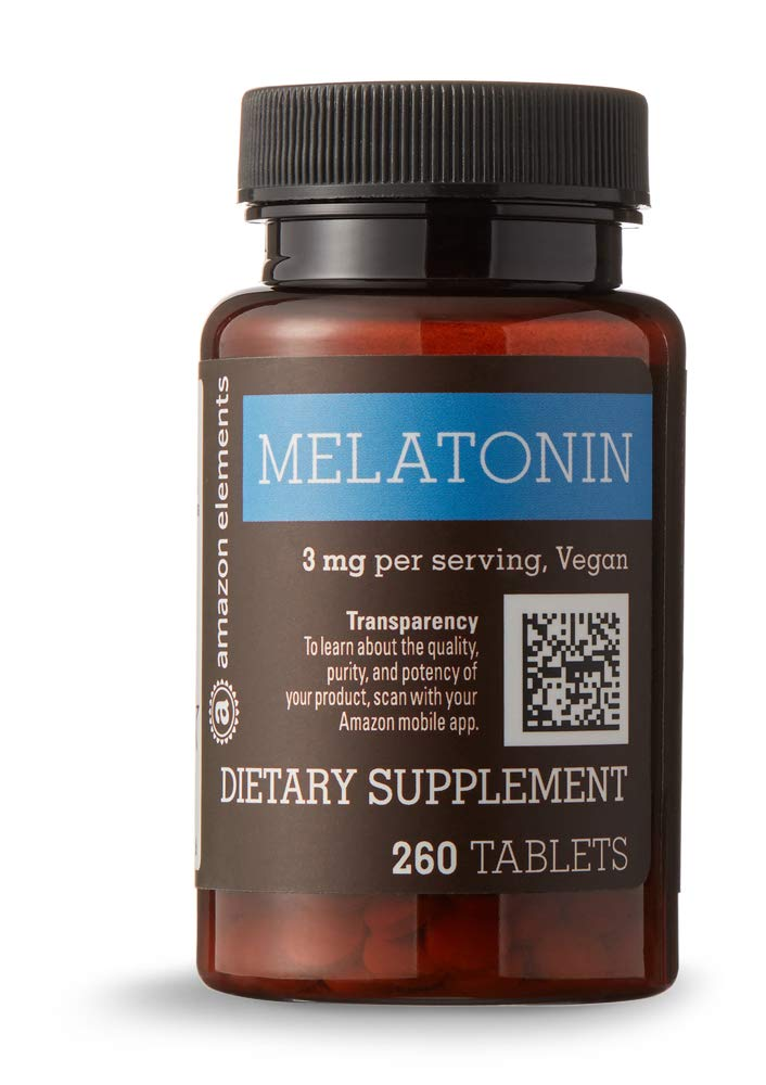 Amazon Elements Melatonin 3mg, Vegan, 260 Tablets, 8 month supply