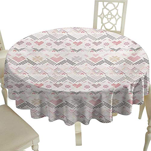 (Cranekey The Pattern Round Table Cloth 60 Inch Pastel,Native American Aztec Style Pattern with Hearts Geometric Vintage Romantic Grunge,Multicolor Great for,Outdoors & More)