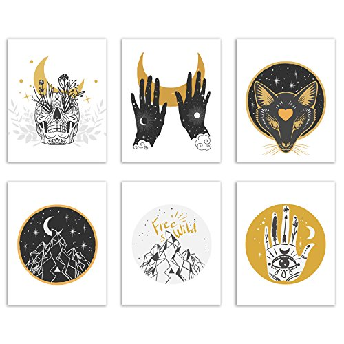 Spiritual Occult Prints - Set of Six Mystic Bohemian Hipster Decor Wall Art Photos 8x10 Nature Alchemy Astrology Skull (Bohemian Art)