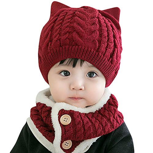 Baby Winter Warm Knitted Hats Scarfs Set Clearance- Iuhan 2PCS Baby Toddler Boy Girl Warm Knitted Lovely Soft Hat Scarf Cap Neck Warmer Set for 6-12 Months Newborn (Wine - Knitted Hat Infant Pattern