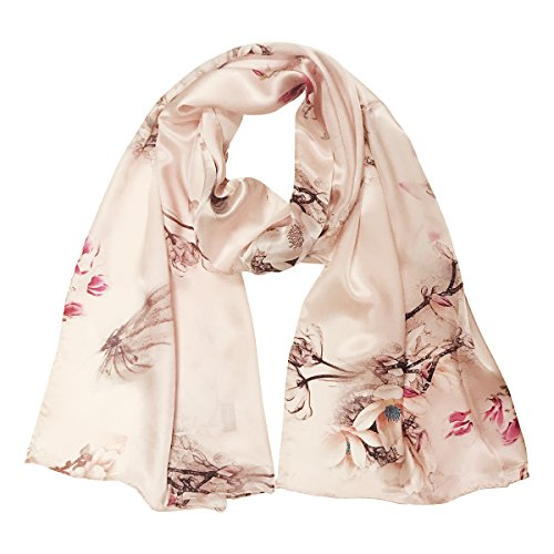Wrapables Luxurious 100% Charmeuse Silk Long Scarf with Hand Rolled Edges, Pink Flora