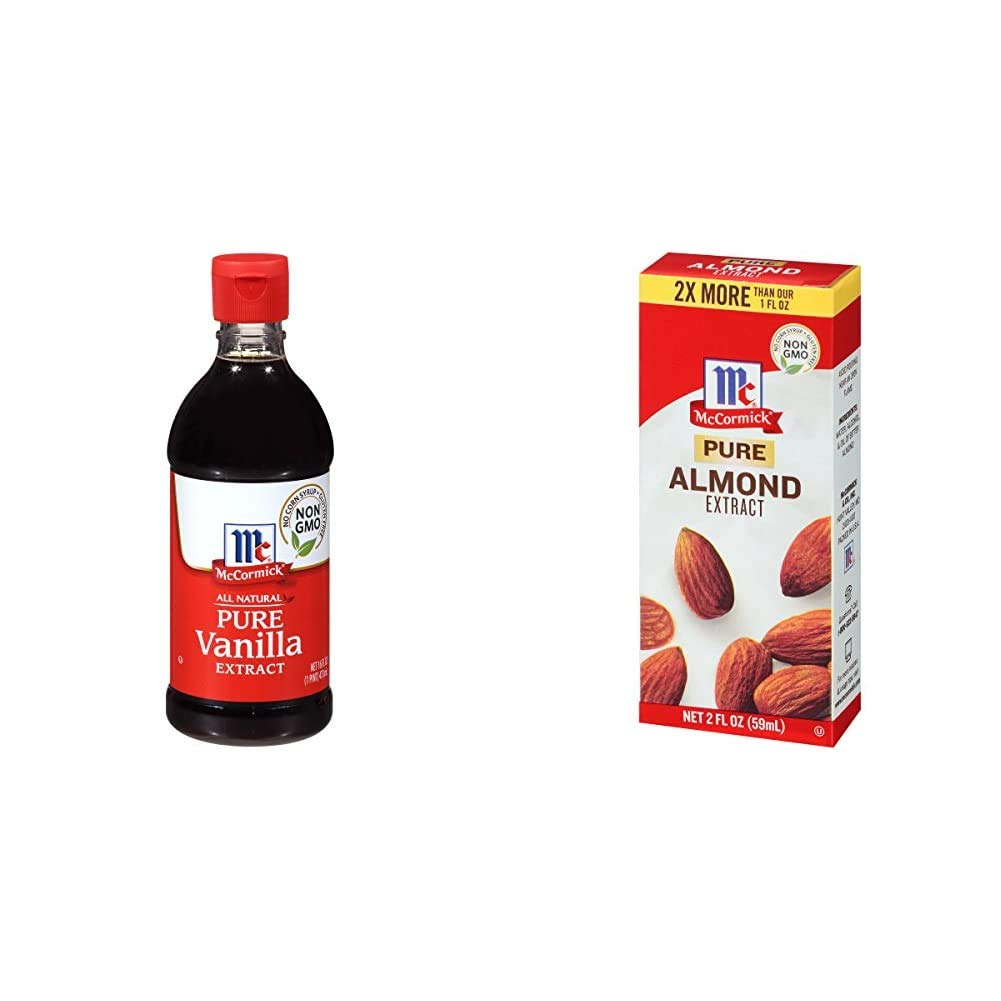 McCormick All Natural Pure Vanilla Extract, 16 Fl Oz & Pure Almond Extract, 2 oz