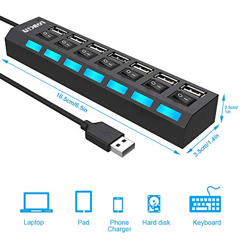 7 in 1 USB Hub, USB Ports and Charging Ports with Individual On/Off Switches and LED Lights for PC, USB Flash Drives, Mouse and More