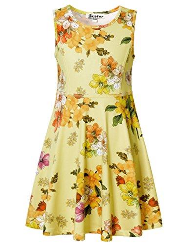 Jxstar Little Girls Vintage Floral Print Dress Flowers Pattern 1950s dresses for girls 50s dresses for kids Vintage Beige 130