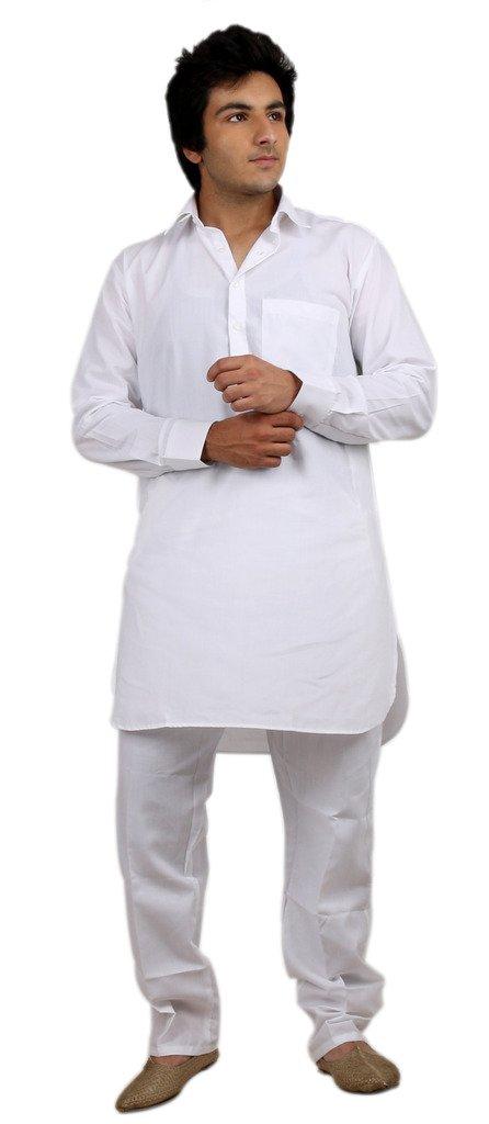 Royal Men's White Cotton Blended Fine Pathani Kurta Pyjama Set Kurta