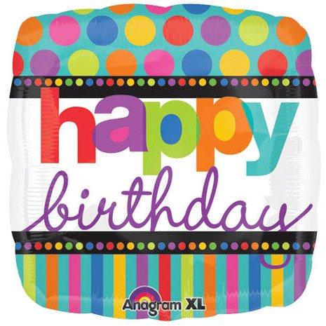 - Anagram International Birthday Dots Stripes Foil Balloon, 18