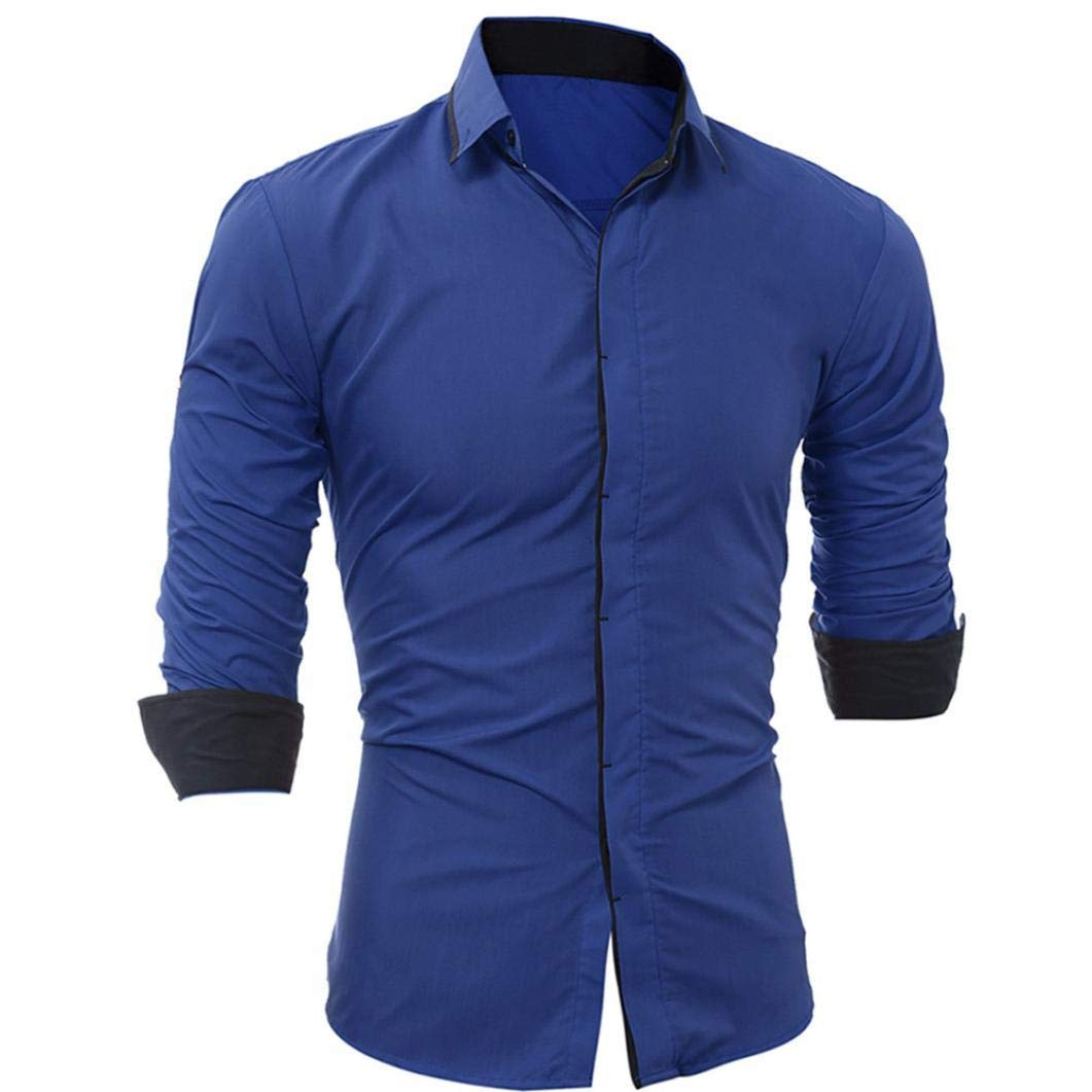 ... de Hombre Camisa de Manga Larga Casual Masculina de Rayas de Colores sólidos, Color sólido con Borde Delgado y Manga Larga para Hombres: Amazon.es: Ropa ...