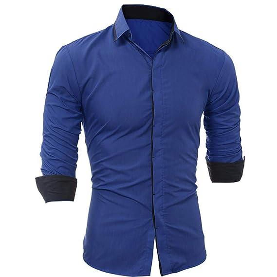 BaZhaHei-Camisetas de hombre Blusa de Hombre del Camisas de Hombre Camisa de Manga Larga
