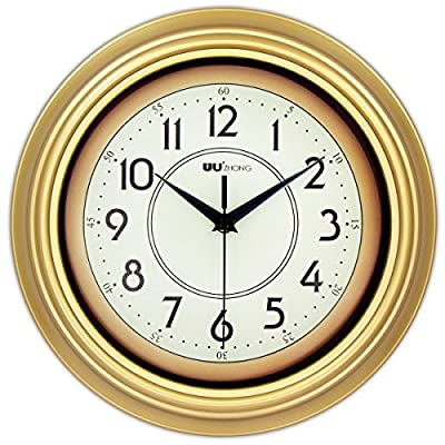 45Min 12-Inch Decorated Dial Face Retro Wall Clock, Silent Non-Ticking Round Home Decor Wall Clock with Fern/Phoenix/Peacock/Peony (Gold) - Round in shape, Antiquated frame design with large black numbers, white dial face guarantee good view. Sturdy plastic case and Flat glass lens, makes it easy to clean and keeps dust away from dial. Seamless Case Design allows your clock and wall integration. - wall-clocks, living-room-decor, living-room - 51f9SIVb6YL. SS400  -