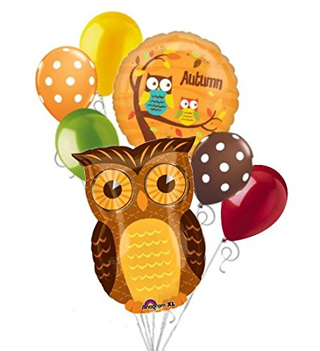 [7 pc Autumn Owl Happy Thanksgiving Balloon Bouquet Party Decoration Fall Leaves] (Autumn Leaf Bouquet)