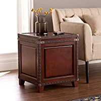 Southern Enterprises Amherst Trunk End Table, Dark Cherry and Espresso Finish