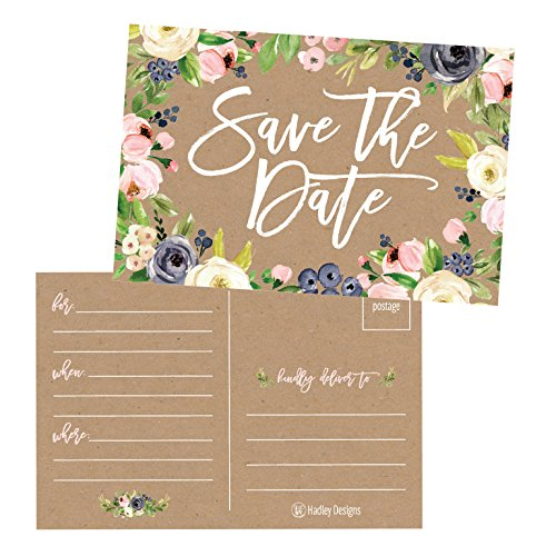 25 Rustic Floral Save The Date Cards For Wedding, Engagement, Anniversary, Baby Shower, Birthday Party, Kraft Flower Save The Dates Postcard Invitations, Simple Blank Event Announcements]()