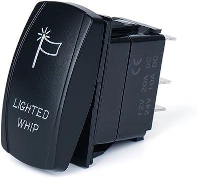Red LED 5Pin Laser Lighted Whip Rocker Switch On-Off LED Light 20A 12V//24V 10A