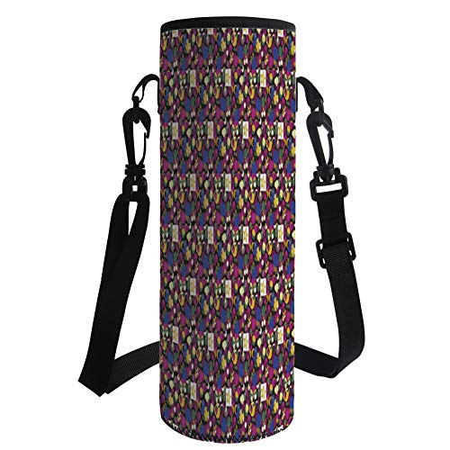 iPrint Water Bottle Sleeve Neoprene Bottle Cover,Abstract,Mix Forms with Stars Circles Square Colorful Chaos Geometric Pattern Decorative,Gold Fuchsia Violet Blue,Fit for Most of Water Bottles by iPrint