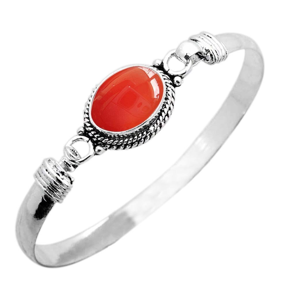 925 Silver Plated 9.10ct, Genuine Carnelian Bangle Made by Sterling Silver Jewelry