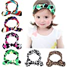 Kingyee Kids Baby Girl Headbands and Bows with Elastic Sets of 6pcs 100% Cotton for Girls
