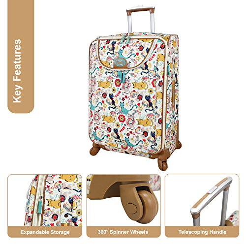 Lily Bloom Luggage 24'' Expandable Design Pattern Suitcase With Spinner Wheels For Woman (24in, Furry Friends) by Lily Bloom (Image #1)