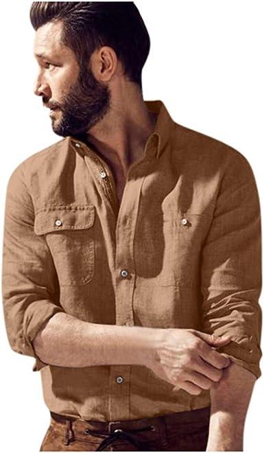 Camisa Casual de Color sólido para Hombre Tops Multibolsillos ...