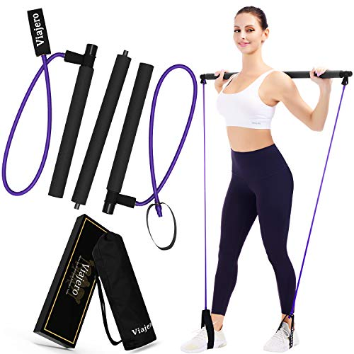 Viajero Pilates Bar Kit for Portable Home Gym Workout – 2 Latex Exercise Resistance Band – 3-Section Sticks – All-in-one…