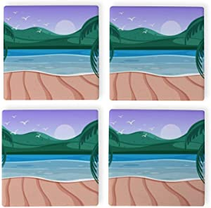 Nature scene with ocean small hills Square Coaster for Drink,Decorative Kitchen Living romm And Coffee Table,set of 4