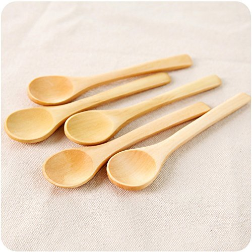 5PC Wooden Cooking Spoons Small Wooden Spoons Tea Coffee Sugar Jam and Honey Stylishly Carved Kitchen Utensil MTSZZF
