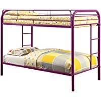 Furniture of America Non-Recycled Metal Bunk Bed, Twin Over Twin, Purple