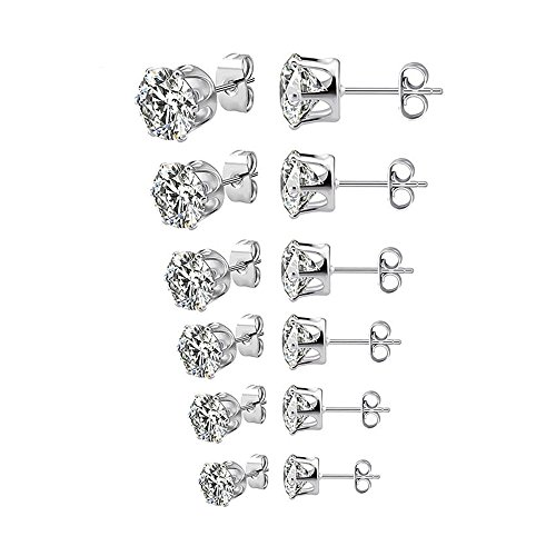 Paxuan 6 Pairs Mens Womens Stainless Steel Silver Black Round Clear Cubic Zirconia Stud Earrings Set (3-8mm) (Silver) Classic Clear Studs