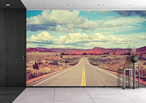 wall26 - Vintage stylized desert road, travel concept. - Removable Wall Mural | Self-adhesive Large Wallpaper - 66x96 inches by wall26