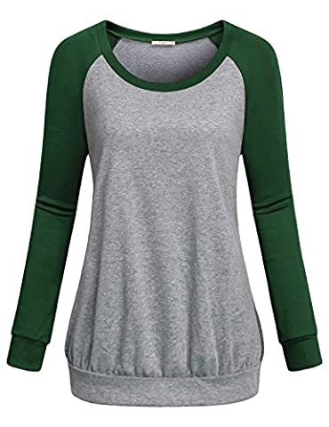 Tunic Shirts for Women,Cestyle Juniors Simple Long Sleeve Crewneck Unisex Jogger Pullover Tops Sports Knitted Jersey Sweatshirts Green (Hers And His Crewneck)