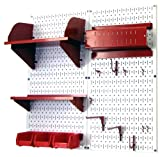 Wall Control 30-CC-200 WR Hobby Craft Pegboard Organizer Storage Kit with White Pegboard and Red Accessories