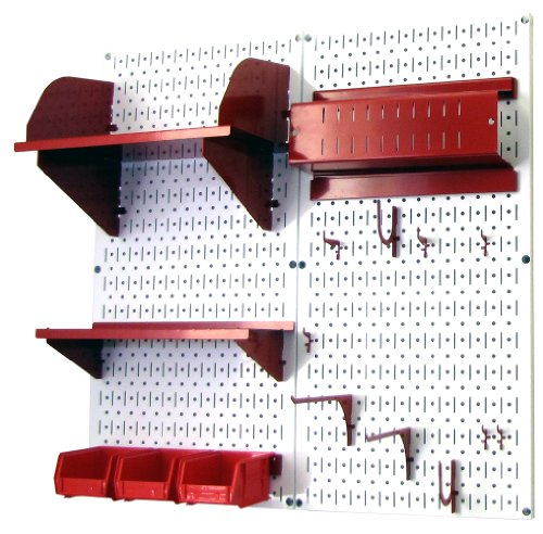 Wall Control 30-CC-200 WR Hobby Craft Pegboard Organizer Storage Kit with White Pegboard and Red Accessories by Wall Control