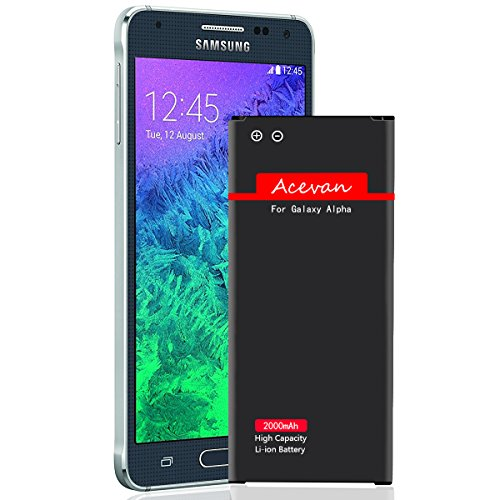 Galaxy Alpha Battery G850 Acevan 2000 mAh Li-ion Replacement Battery Samsung Galaxy Alpha, SM - G850A (at&T), G850T (T-Mobile), G850F, G850H, G850M, G850W, G8508S, G8509V [3 Year Warranty] by Acevan