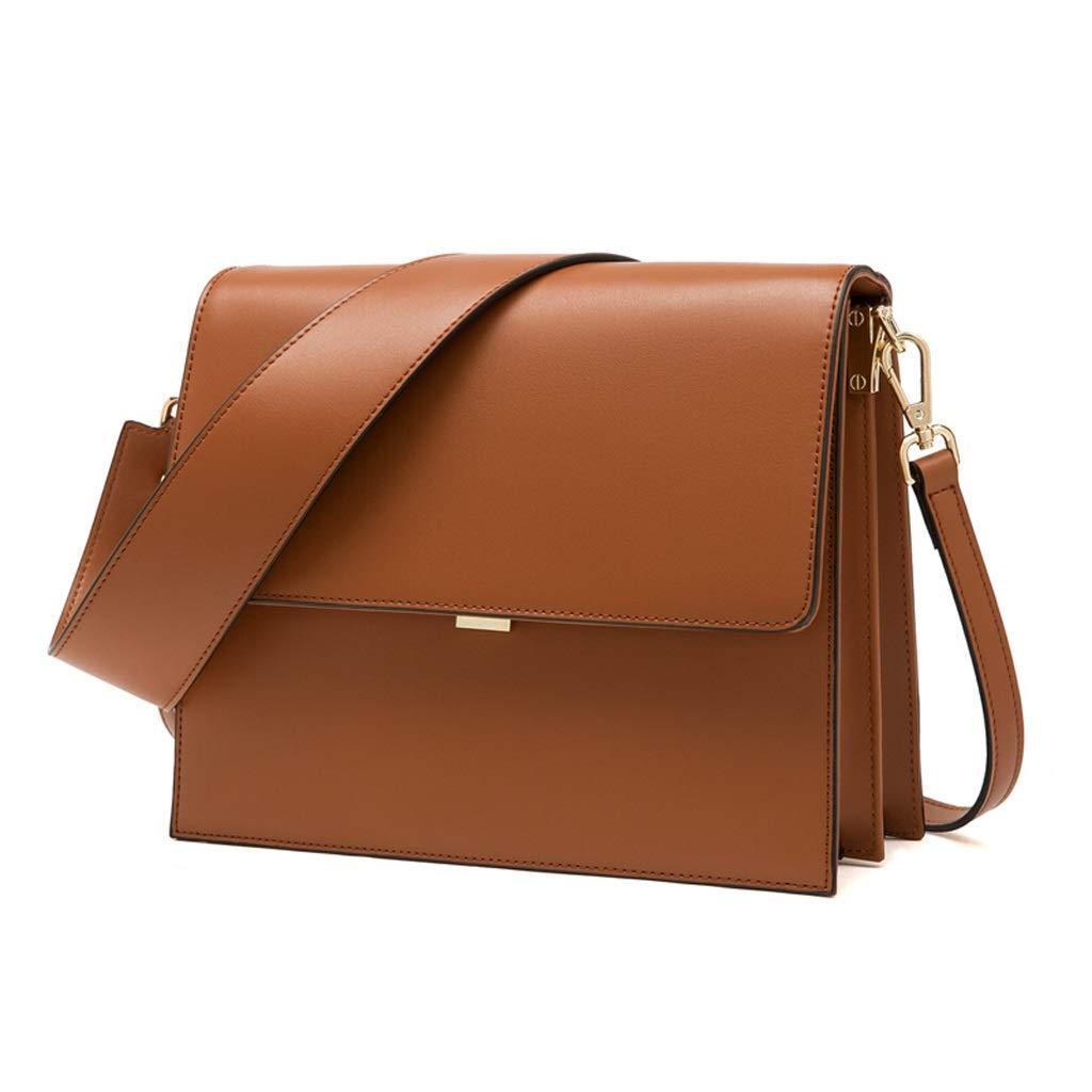 ファッションショルダーバッグ女性の小さなスクエアバッグシンプルな野生のビッグバッグワイドショルダーストラップ吊り女性のバッグ (色 : Brown) B07MW6MVKQ Brown