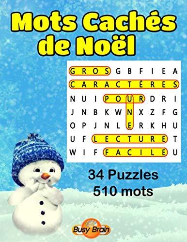 Mots Cachés De Noël  34 Grilles De Mots Mêlés Gros Caractères  Busy Brain Mots Cachés  Mots Mêlés  Band 2