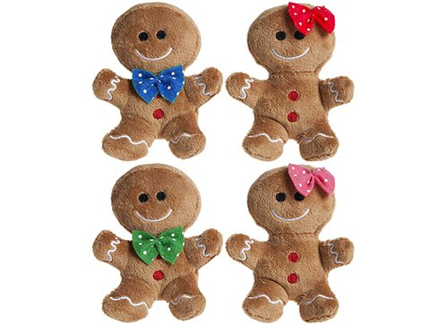 Pack Of 4 - 10cm Plush Gingerbread Man & Lady Soft Toys With Various Bows - Christmas Soft Toys - Christmas Decorations