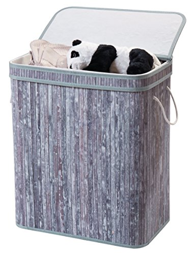 Finnhomy Laundry Basket Divided Laundry Hamper Two-section for Dirty Clothes Laundry Sorter Natural Bamboo Color Wash Grey