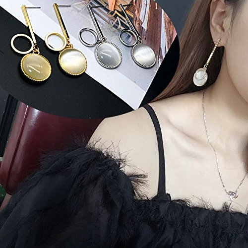 Opal Disc - Simple metal discs opal earrings Europe exaggerated personality temperament long section of Korean women retro earrings earrings